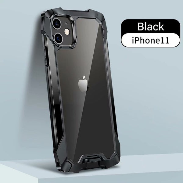 New Hybrid Metal Silicone Drop Resistance Protective Bumper Case For iPhone 11 12 Pro Max Series