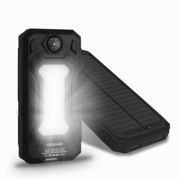 New Travel Solar Power Bank 12000mAh with Dual USB Ports, LED Camp Light and Outdoor Compass