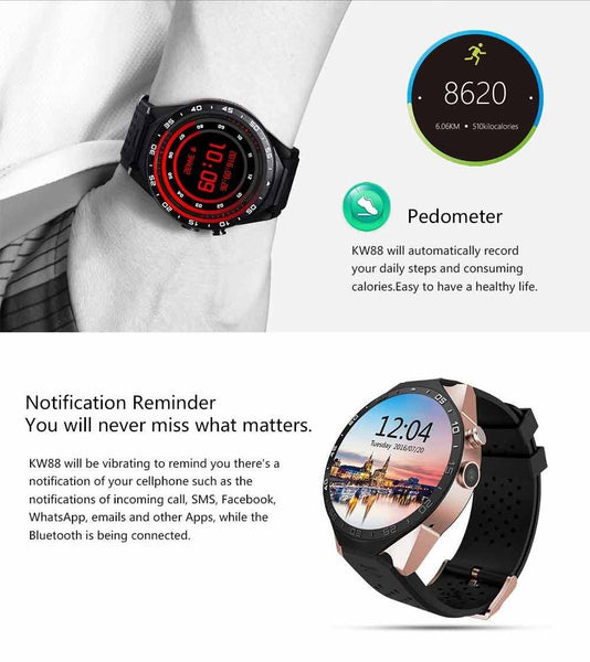 New Luxury Sports Quad Core GPS Bluetooth Smart Watch with Heart Rate WIFI Multiple Enhanced Screen Dials Gesture Control