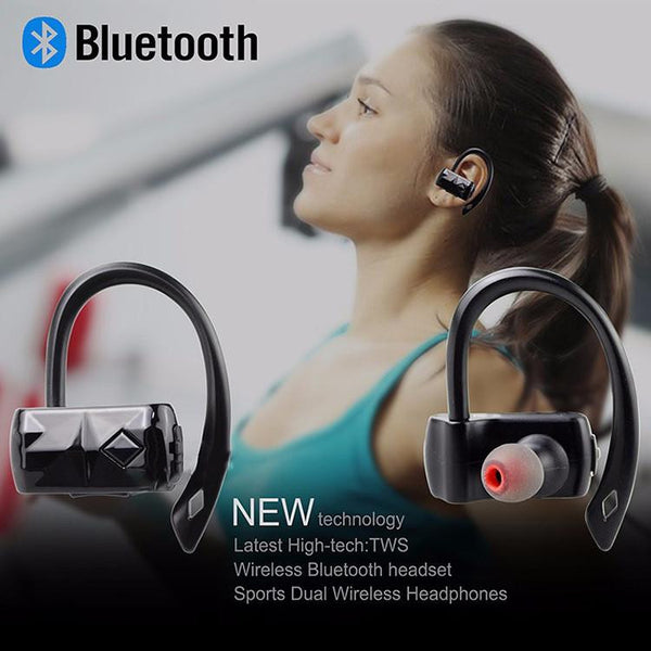 New True Wireless Stereo Bluetooth 4.2 Sweatproof Headphones Earhooks for Runners