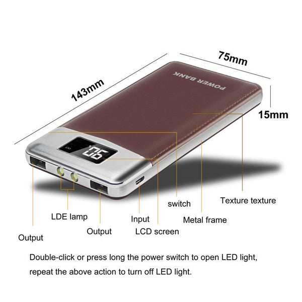 New Portable 12000mAh Dual USB Mobile Power Bank External Backup Battery Charger with LED Indicators
