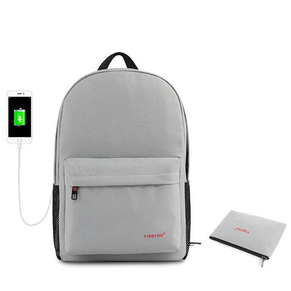 Simplistic Men's School 14 Inch Laptop Preppy Backpack with USB Charging