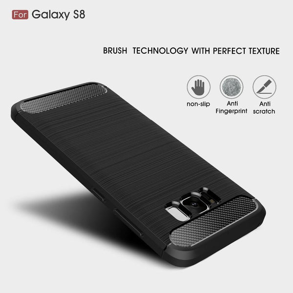 Environmental Carbon Fiber Soft TPU Anti-Skid Cover Phone Case for Samsung Galaxy S8 and S8 Plus