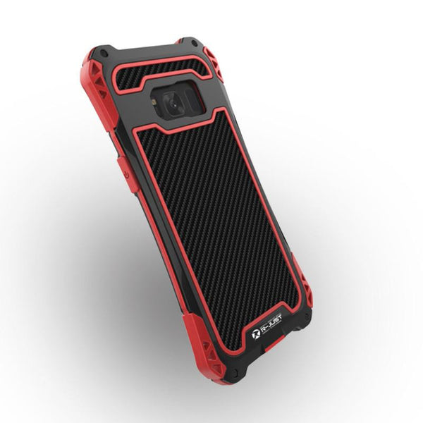 New Carbon Fiber Suited Armor Aluminum Shockproof Case w/ Outdoor Anti-Shock Cover for Samsung Galaxy S8 / S8 Plus / S9 / S9 Plus / Note 8 / Note 9