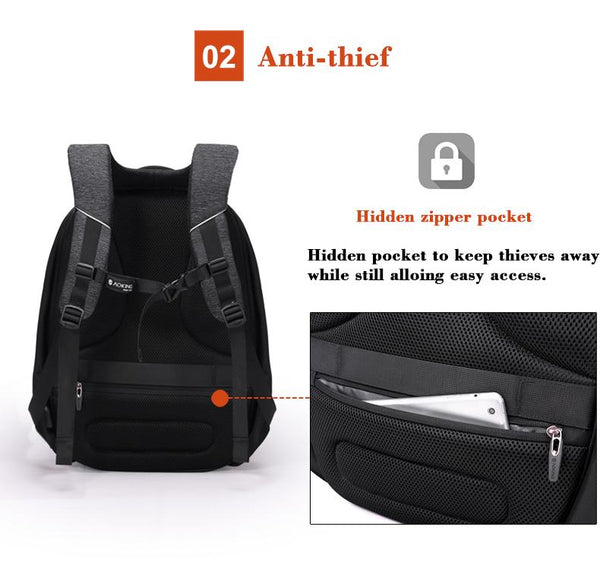New Anti-Theft Water-Resistant Large Capacity Backpack with Reflective Tap & Battery Slot for USB Charging