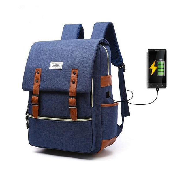 New Preppy Water-Repellent External USB Charging Sport Backpack Laptop Bag for Outdoor Travel School