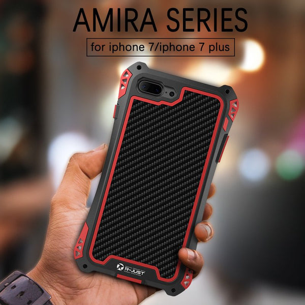 New Carbon Fiber Suited Outdoor Shockproof Alloy Case Cover for iPhone X XS XR 11 Pro Max Series