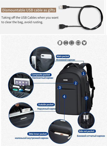 New Heavy Duty Deluxe Laptop Travel Multipurpose Rucksack Backpack with Battery Slot for USB Charging
