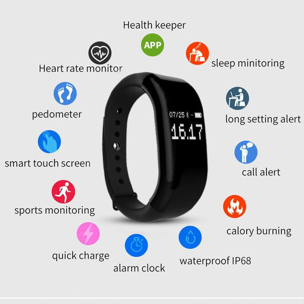 New Time Owner Smart Heart Rate Monitor Fitness Bluetooth Tracker Smart Bracelet Activity Tracker for iOS Android Smart Wristband