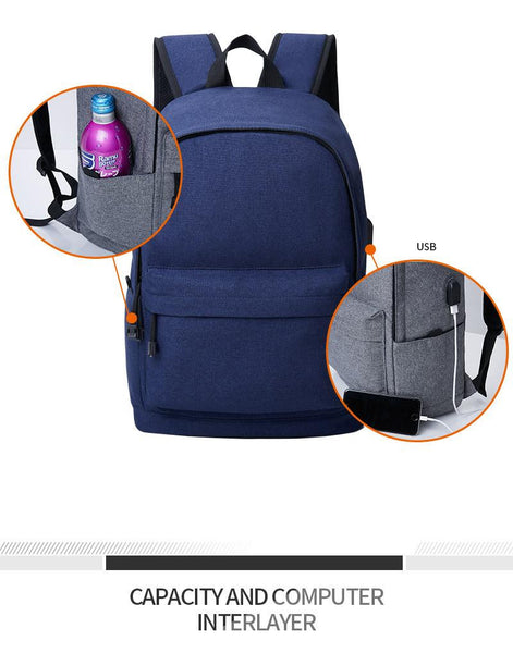 Multipurpose Canvas Vintage College Student School Daypacking Backpack with Battery Slot for USB Charging