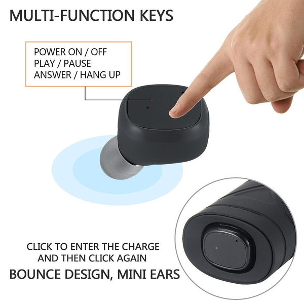 True Wireless Earbuds Mini Stereo Headset with Mic Handsfree Bluetooth 4.2 Earphone Charger Box for iPhone and Andoid