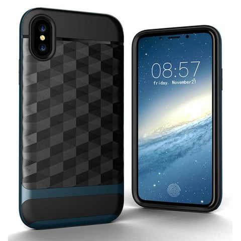 New Slim Dual Layer Protective Textured Geometric Case Cover with Corner Cushion Design for iPhone X