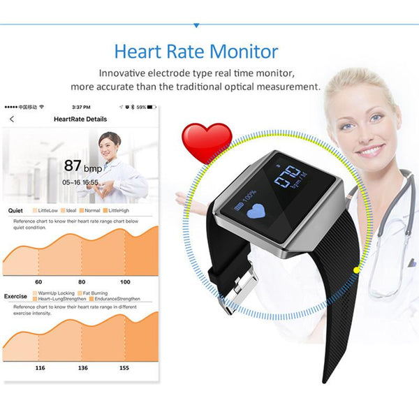 NEW ARRIVAL - Luxury Intelligent Heart Rate Blood Pressure Smart Watch Bracelet with Pedometer Call Reminder