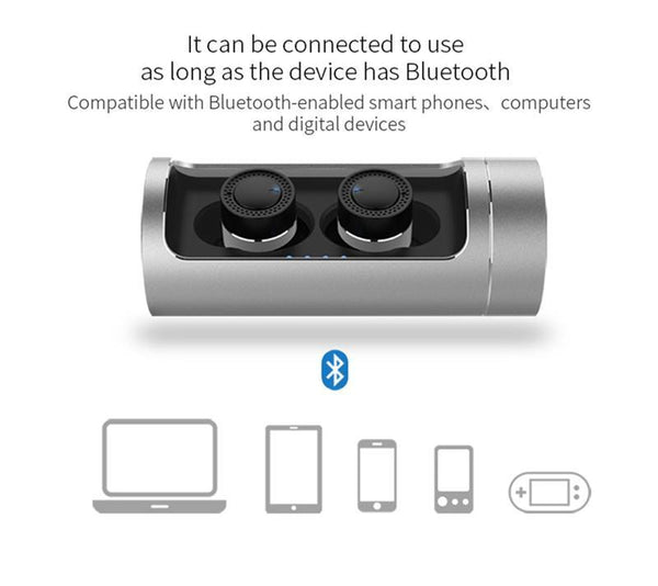 New Dual Dynamic Luxury Mini Wireless Bluetooth Sports Earphone In-Ear Earbuds with Charging Box & Active Noise Cancelling