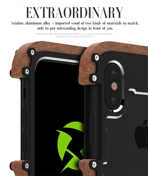 New Hybrid Natural Wood Aluminum Metal Frame Phone Case for iPhone X XS XR Series