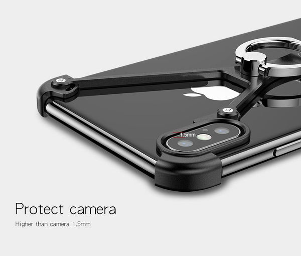 New X-Shaped Aluminum Metal Shockproof Bumper Mobile Phone Case Frame with Ring Holder for Apple iPhone 12 Series