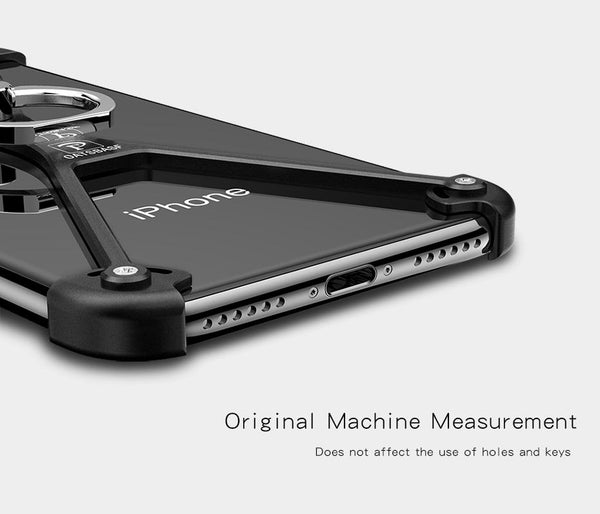 New X-Shaped Aluminum Metal Shockproof Bumper Mobile Phone Case Frame with Ring Holder for Apple iPhone X 8 Series