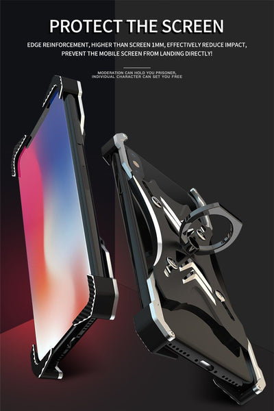 New Luxury Case Frame Aluminum Back Cover Phone Case with Ring Holder for Apple iPhone 11 Pro Max XR XS X 8 Series