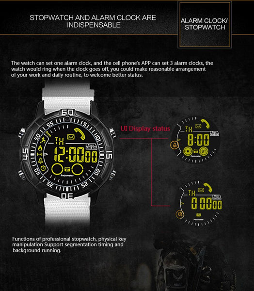 New Bluetooth Smart Watch Waterproof Men's Wristwatch with Sport Pedometer Stopwatch Call SMS Reminder for iPhone Android