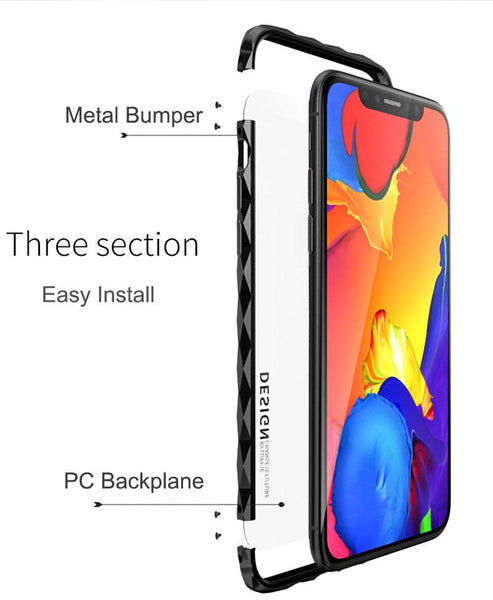 New Diamond-Patterned Class Protection Luxury Aluminum Metal Bumper Frame for iphone X