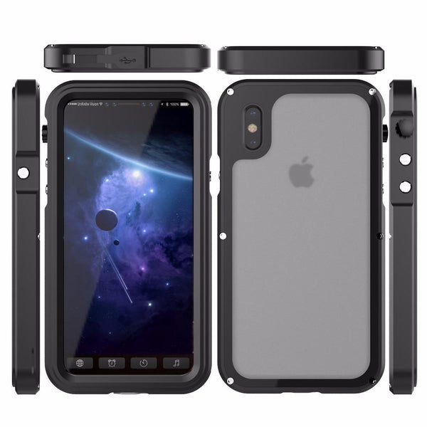 New Luxury Heavy Duty Hybrid Cover Metal Coque Armor Shockproof Aluminum Case for iPhone X 10
