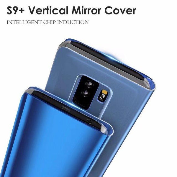 New Luxury Protective Flip Phone Case Mirror Clear View Cover with Stand for iPhone 6 7 8 Plus X & Samsung Galaxy S7 S8 S9 Plus