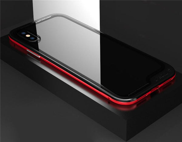 New Luxury Ultra Slim and Light Metallic Bumper with Transparent Back Cover Fitted Case for iPhone X