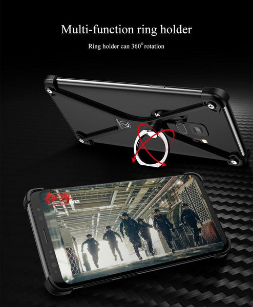 New Ultra Lightweight X-Shaped Ring Holder Protective Bumper Metallic Case for Samsung Galaxy S9 / S9 Plus