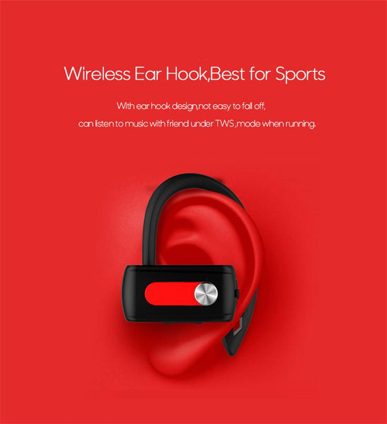 New TWS Sports Bluetooth Earphones with Microphone Wireless Headsets Ear Hook Waterproof Earbuds for Mobile Phones