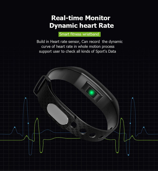 New Fitness Smart Bracelet Waterproof Real-Time Monitor Dynamic Heart Rate Sport  Fitness Wristband Support USB-Charge Watch