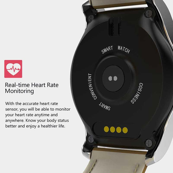 New Leather-Banded Smartwatch with 1.3 Inch Heart Rate Monitor Anti-Lost Support SIM/TF Card Smart Watch for IOS Android Windows