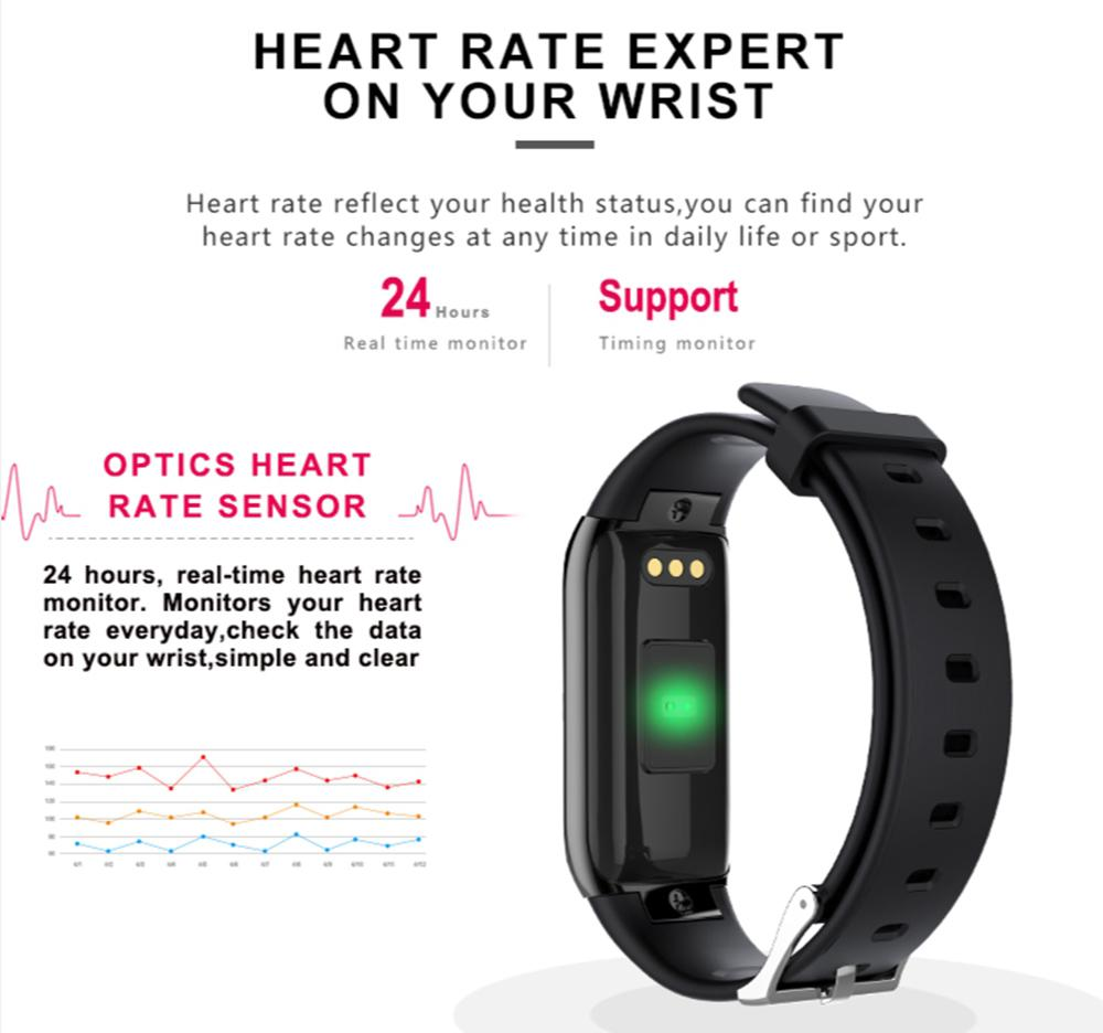New Colored Screen Smart Bracelet Heart Rate Monitor Fitness Tracker Clock  Pulse Tonometer Smart Band for IOS Android Windows