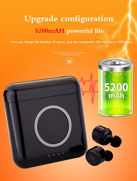 New Super Compact TWS Wireless Earphones Headphone Stereo Earbuds w/ Mic 5200mAH Wireless Power Bank Charger