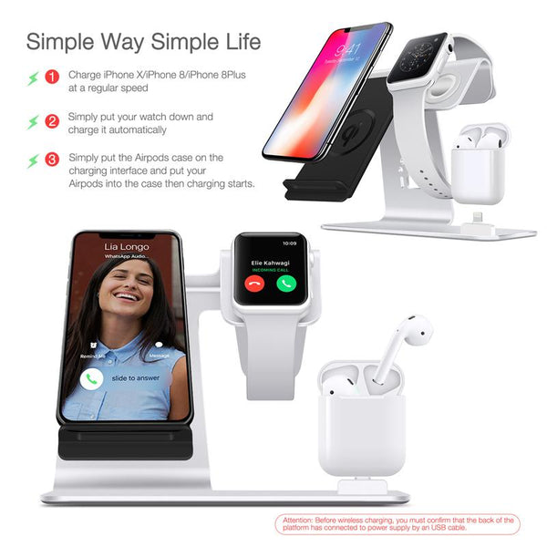 New Super Compact 3 in 1  iWatch Stand Airpods Charger Dock Phone Desktop Tablet Holder for Airpods