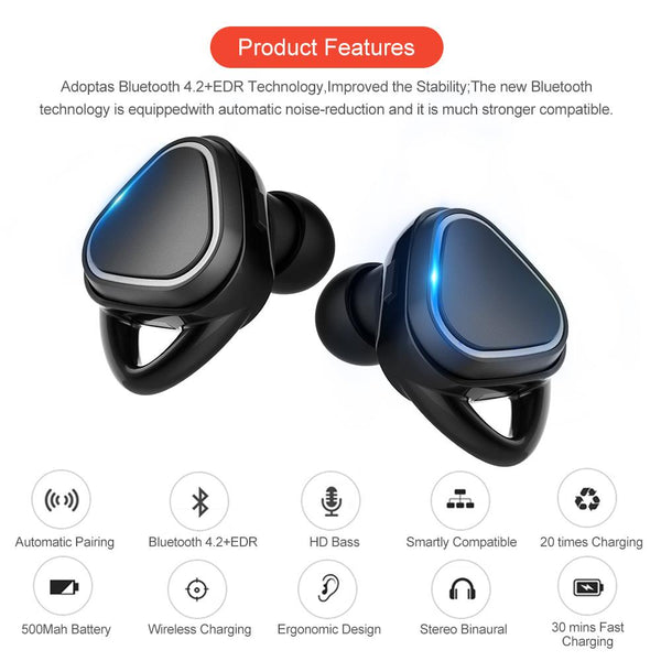 New TWS Sweatproof Mini Wireless Earbuds Twins Earphone Bluetooth Headphones With Battery Case Hands Free Headsets