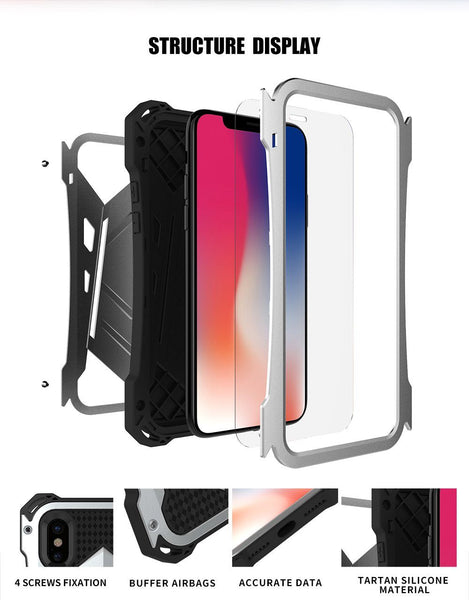New Luxury Protective Hard Armor Heavy Duty Metal Aluminum Shell Phone Case for iPhone XR XS X 8 / Samsung Galaxy S10 Note 9