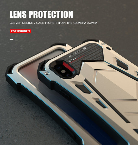 New Luxury Protective Hard Armor Heavy Duty Metal Aluminum Shell Phone Case for iPhone XR XS X 8 / Samsung Note 9 Series