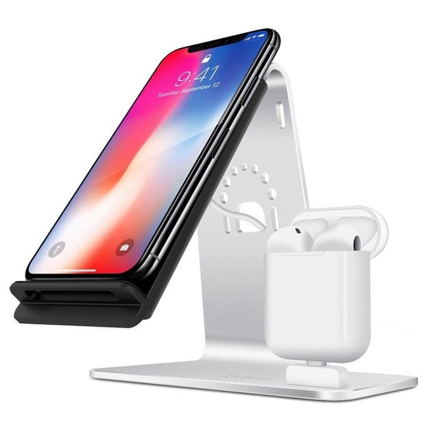 New 2-In-1 Airpods Stand Wireless Charging Desktop Tablet Dock For iPhones