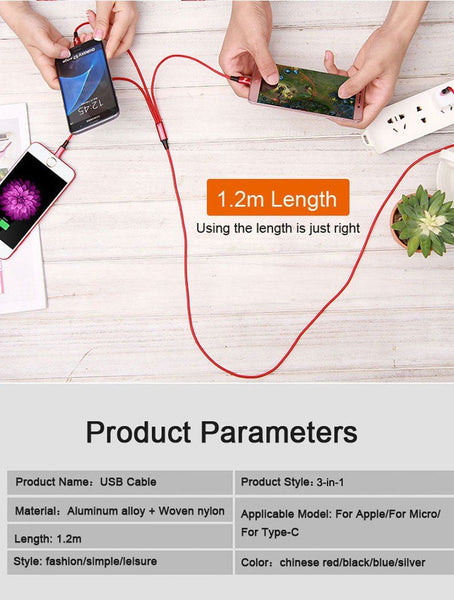 New 3 IN 1 8Pin Type C Micro Nylon USB Cable For iPhone 8 X 7 6 6S Plus iOS 10 9 8 Samsung Nokia USB Fast Charging Cables Cord