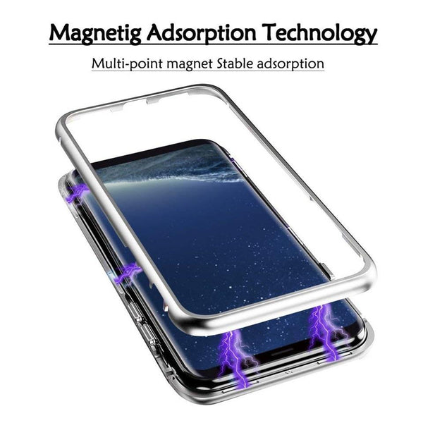 New Magnetic Metallic Adsorption Flip Phone Case Glass Back Cover for Samsung Galaxy S9 S8 S7 Edge Series