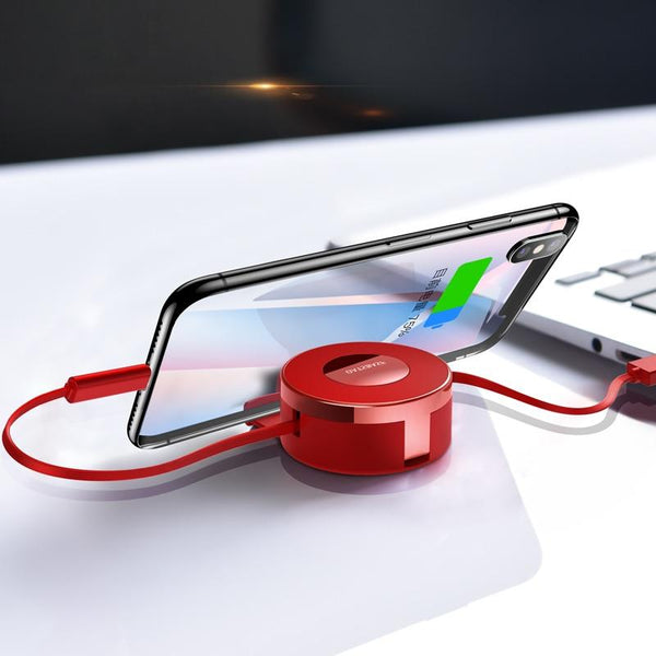 New 3 In 1 Micro USB Type C iPhone Retractable Cable with Powder Cake Box for Samsung Galaxy Note 7 8 9 / iPhone XR XS X 8 Series