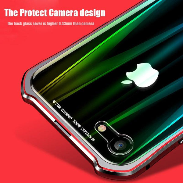 New Laser -Colored Design Magnetic Metal Frame Shell Phone Case Cover For iPhone XS XR X 8 Series