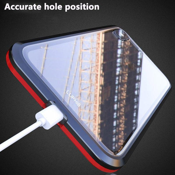 New Bulit-In Magnetic Luxury Anti-Shock Metal Frame Glass Case Cover For iPhone 11 Pro Max XS XR Samsung Galaxy S10 Note 10 Series