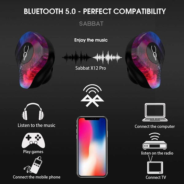 New Bluetooth 5.0 True Wireless Stereo Earbuds Earphones IPX5 Water-Resistant Headset for Phone HD Communication with Charge Box