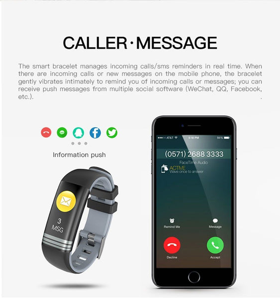 New Fitness Bracelet Blood Pressure Heart Rate Monitor Smart Band Watch Multi-Sport Mode For iPhone Android