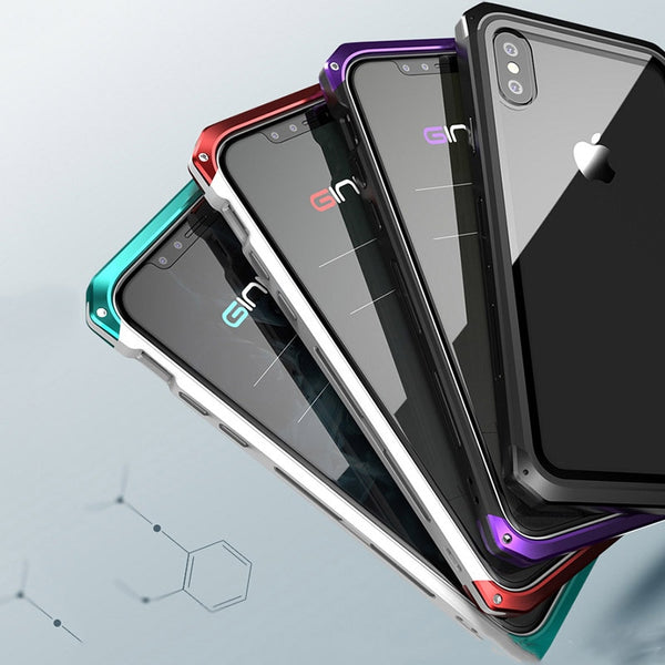 New Luxury Metal Glass Aluminum Bumper Coque Case Bumper Cover For iPhone X XS Series
