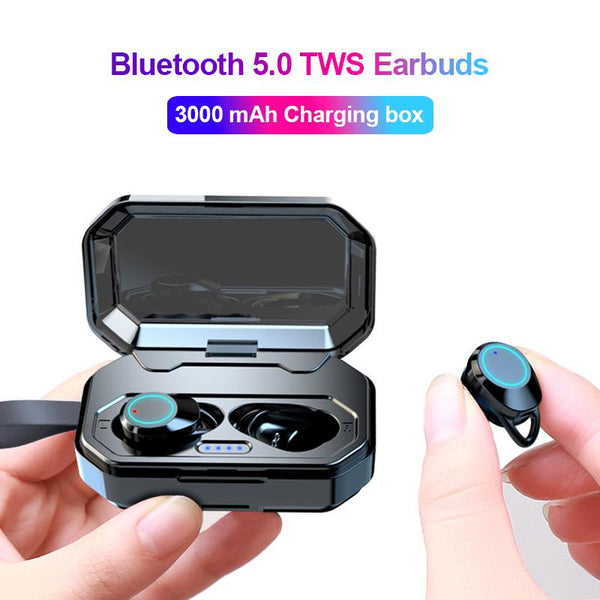New True Wireless Earbuds Bluetooth 5.0 Earphones Touch Control TWS Headset IPX7 Waterproof Earphone With Charging Box