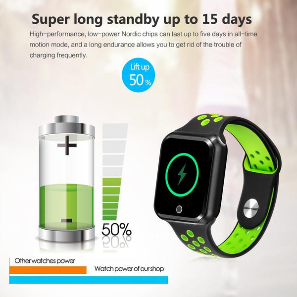 New IP67 Waterproof Sport Fitness Tracker Pedometer Heart Rate Blood Pressure Monitor Smartwatch For iPhone Android