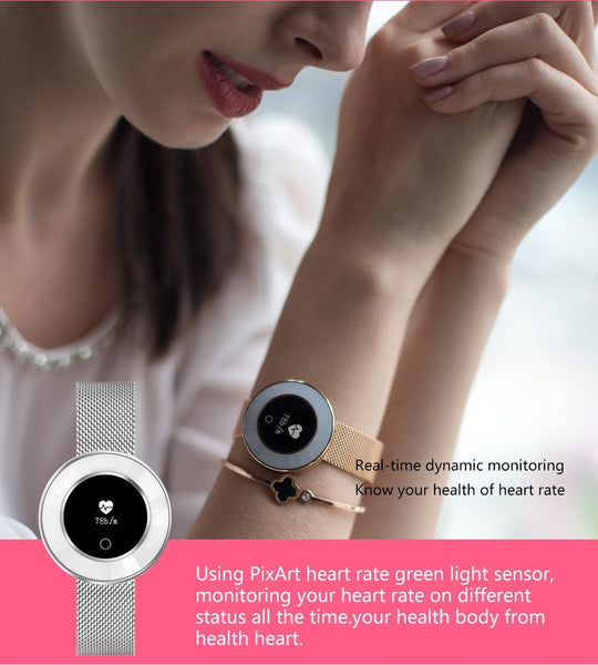 New Lady Smart Bracelet Watch IP68 Waterproof Steel Strap Heart Rate Blood Pressure Tracker Smart Watch For iPhone Android