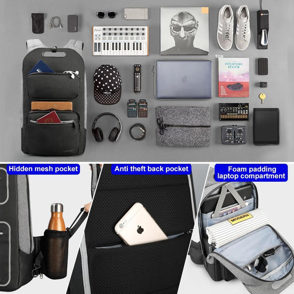 New Fashion Compact School 15.6 Inch Laptop Student College Business Smart Backpack With USB Charging Anti-Theft